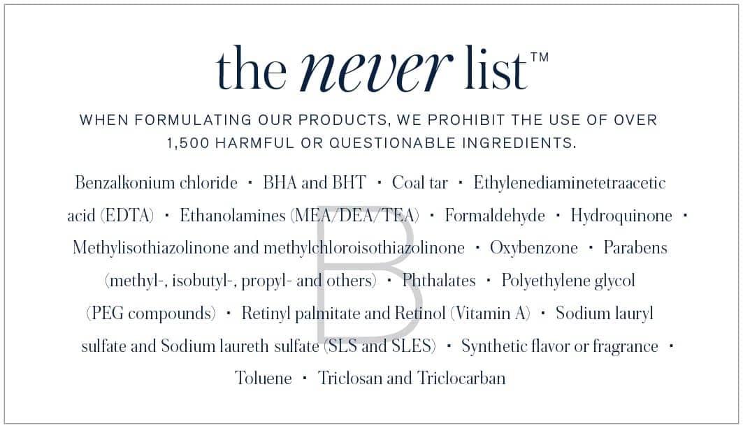 BeautyCounter Never List Ingredients