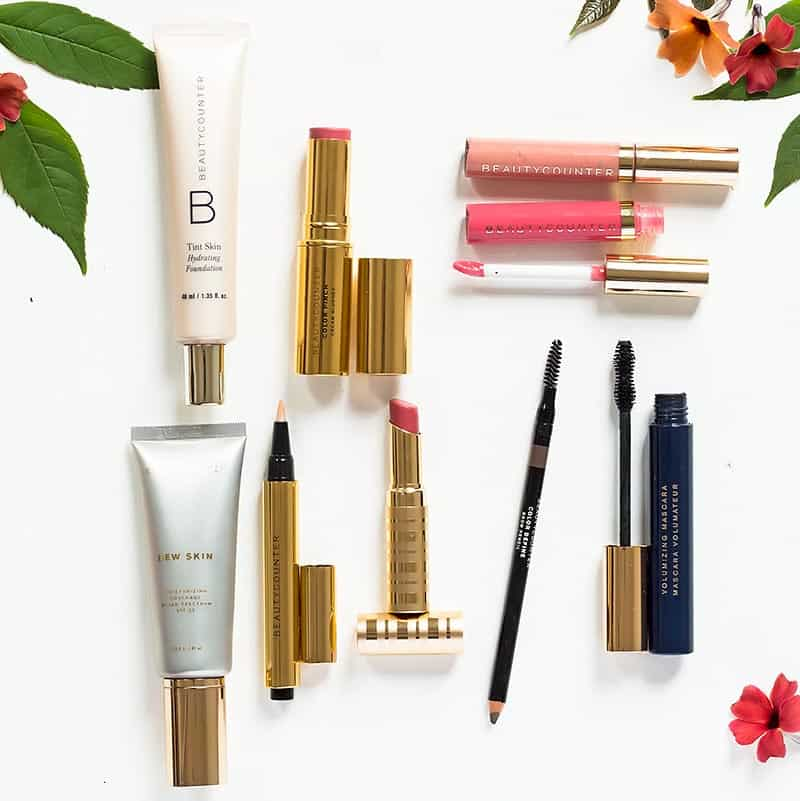 BeautyCounter Makeup Products: Foundation, Dew Skin, Concealer, Lipstick, Blush, Lipgloss, Mascara, Brow Pencil