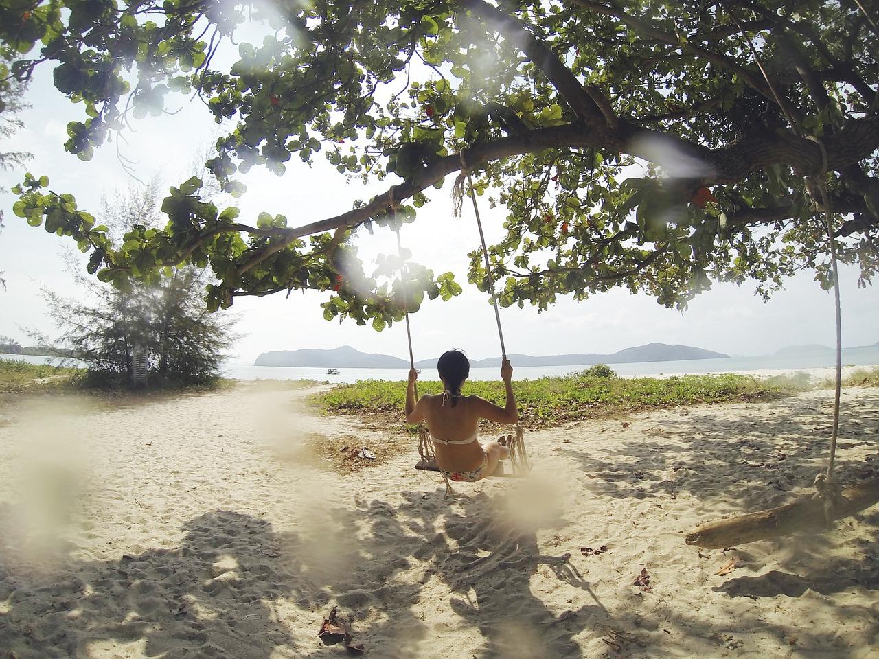 beach swing woman summertime